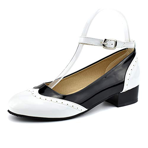 100FIXEO White Women Ankle Strap Saddle Oxford Shoes 10 (B) M US