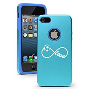 Apple iPhone 5 5S Light Blue 5D5554 Aluminum & Silicone Case Cover Infinite Infinity Love for Soccer