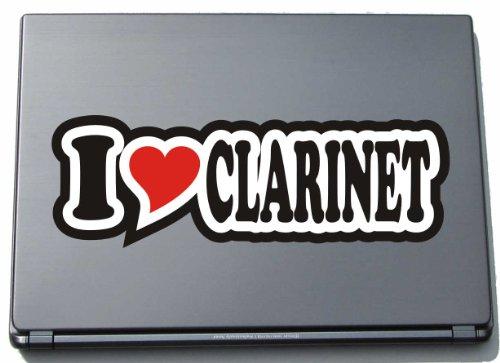 I Love Heart Decal Sticker Laptop Skin 297 mm I LOVE CLARINET