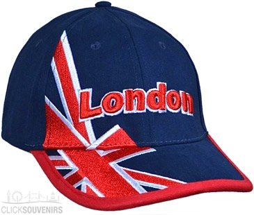 Baseball Cap - Raised Union Jack Embroidered Baseball Hat - Navy, London Souvenir T Benacci