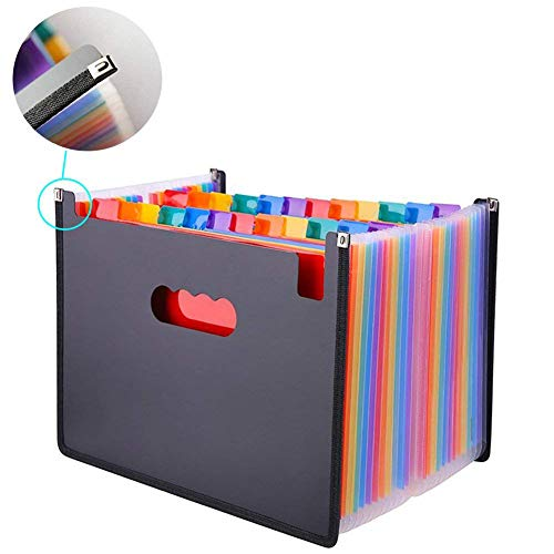Oak-Pine 24 Pocket Expanding File Folder - Large Plastic Rainbow Expandable File Organizer Self Standing Accordion A4 Document Folder Wallet Briefcase Business Filing Box