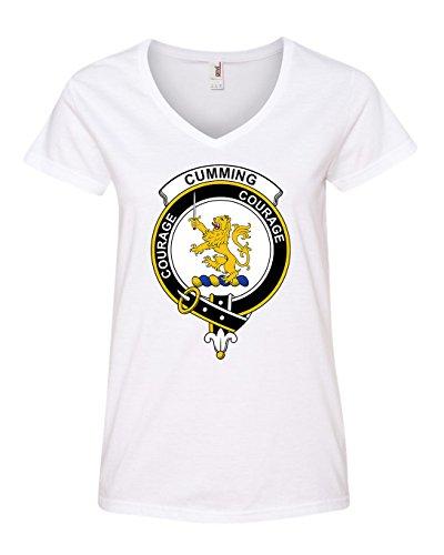Cumming Shop Clan (Tenacitee Women's Scottish Clan Crest Badge Cumming V Neck T-Shirt, 2X-Large, White)