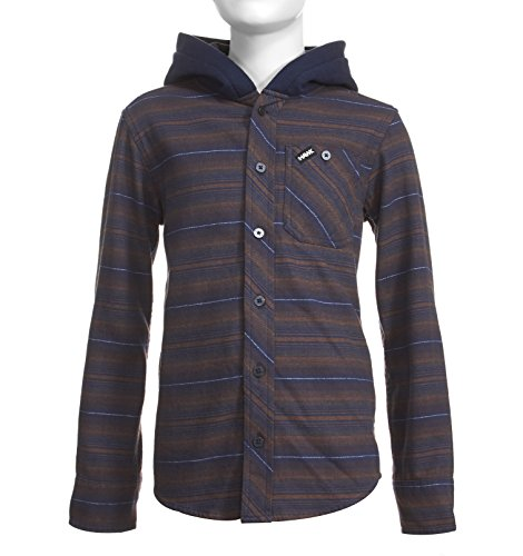 Long Sleeve Kids Flannel (Tony Hawk Boys Long Sleeve Flannel Button Down Shirt with Hood School Clothes Shirt Brown 18/20)