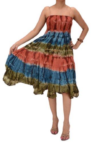 (Skirts 'N Scarves Women's Cotton Tie-Dye Smocked Bodice Dress/Skirt (Multi))