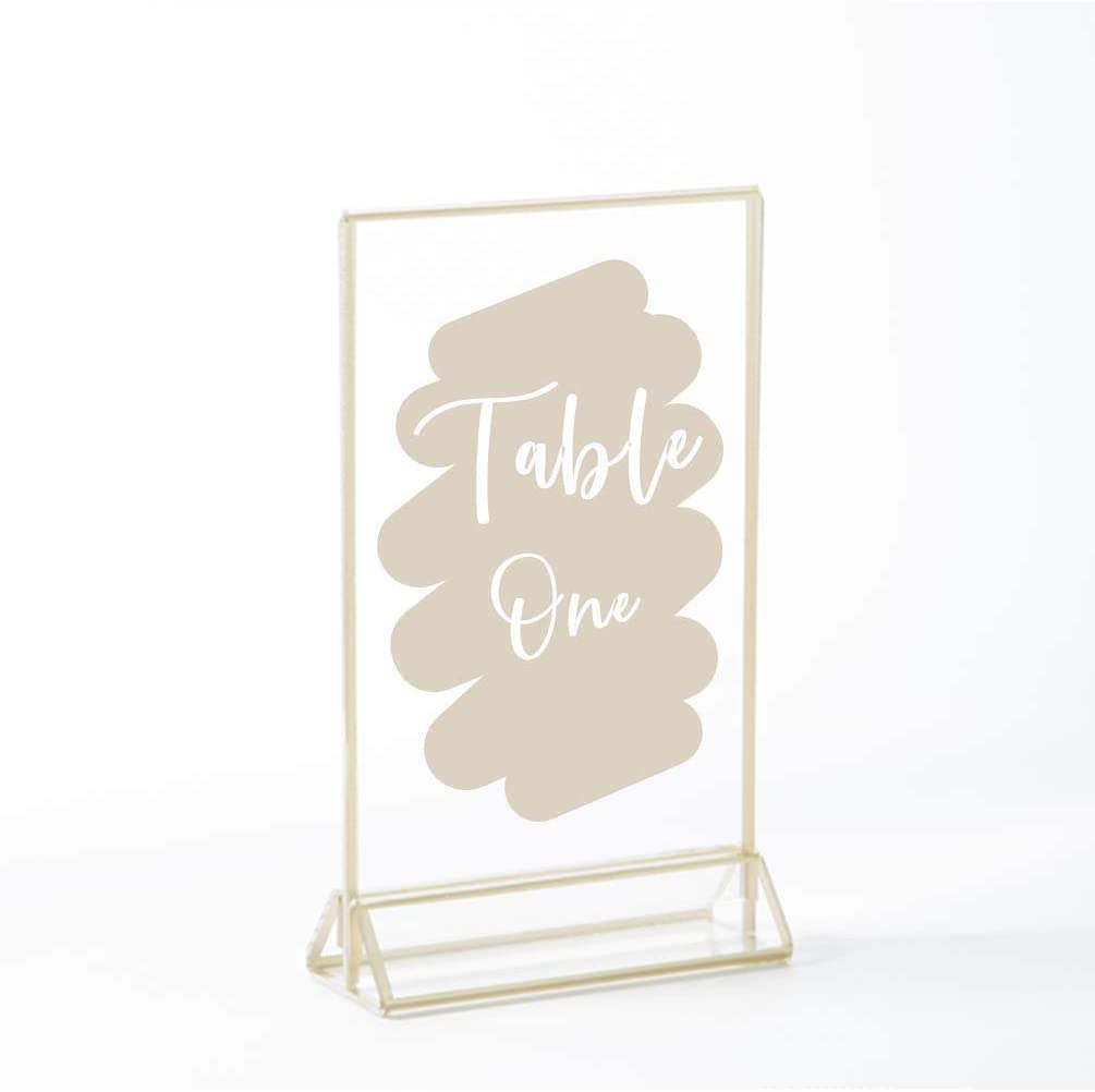 Stockroom Plus Clear Acrylic Sign Holder with Gold Borders Vertical Stand 4 x 6 in, 6 Pack