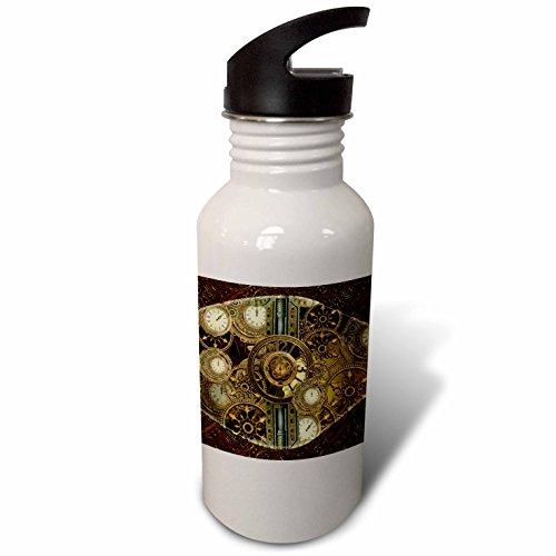 3dRose Heike Köhnen Design Steampunk – Steampunk, golden design clocks and gears – Flip Straw 21oz Water Bottle (wb_256375_2)