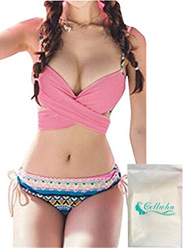 Gellwhu 2 Ways Wearing Bohemian Women's Girls 2pcs Bikini Swimsuit Set (US 6, Pink)