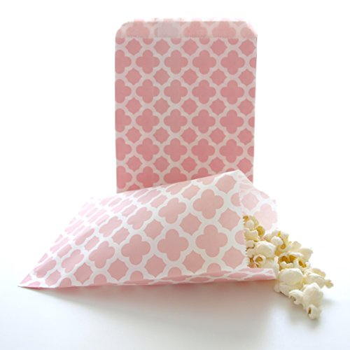 Princess Pink Paper Flower Party Favor Bags, Spanish Tile Design (25 Pack) - Girls Party Pinata Loot Bags, Summer Wedding Favor Sacks, Dessert Table and Candy Buffet Treat Bags