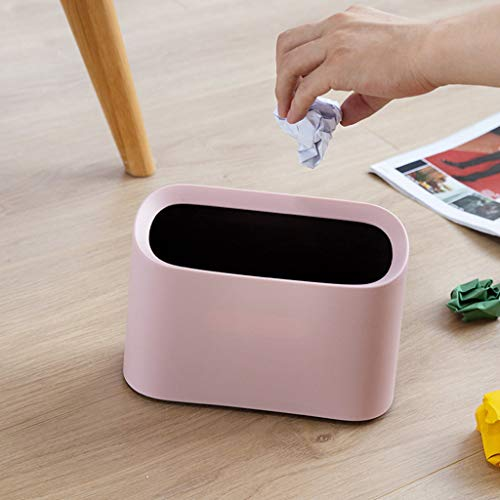 - Alisy Desktop Trash Can Small, Cute, Liner, Fashion - Modern Oval Shatter-Resistant Plastic Small Trash Bin Wastebasket (Pink)