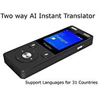 TranSay AI Two Way Instant Digital Voice Translator Recorder device supports Chinese,English,Arabic,Danish,German,Spanish,Finnish,French,Italian,Japanese,Korean,Dutch,Polish,Portugal,Russian,Swedish