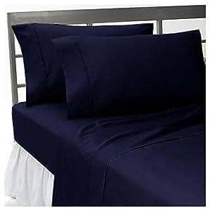 LaxLinens 500hilos algodón egipcio 6piezas Juego de sábanas (+ 10cm) Extra profundo bolsillo solo largo, color azul marino sólido