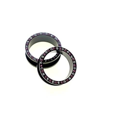 A Pair of 25mm 1 Inch Surgical Steel Screw Fit Plain Flesh Tunnel Ear Plugs Choose Your Design (Black With Pink and clear -