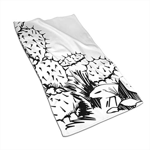 Gaojimaojin Desert Cactus Sketch Floral Print Kitchen Towel Dish Towel Hand Towel Stove Top Towel and Barbeque Towel by Mainstays 28 X 18 Inch