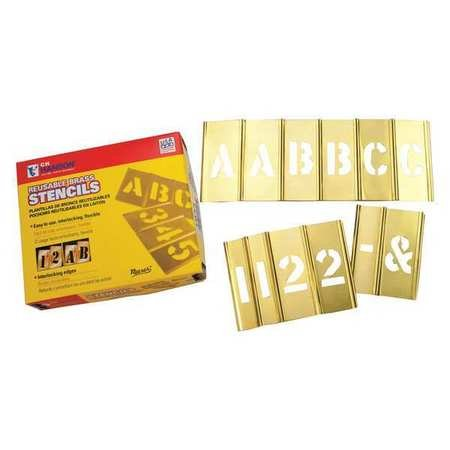 Brass Stencil Letter & Number Sets - 4'' 77pc letter & numberset by C.H. Hanson