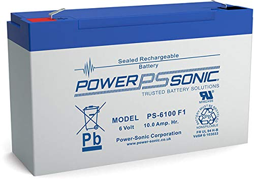 Power-Sonic PS-6100VDS - Sealed Lead Acid (VRLA) - Blue,Grey - 10 Ah - 6 V - 1 pc(s) - 130 A