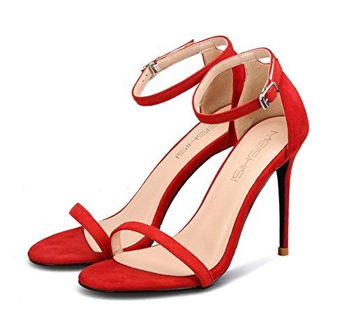 Alto Caviglia Red Le Ballo Cinghietti Signore Donna Scarpe Medio Fine Scamosciato Tacco Nvxie Dimensione Anno Di Festa Nozze Cinghia Sandali w6HXx5v