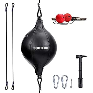 Well-Being-Matters 41w-8fL42vL._SS300_ TOCO FREIDO Double End Punching Ball with Boxing Reflex Ball, Pump, Headband, Perfect for Gym MMA Boxing Sports Punch…