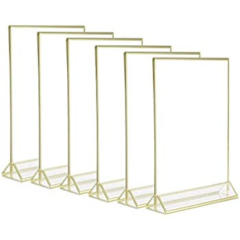 Pack of 6 SUPER STAR QUALITY Anti-Glare Acrylic Double Sided Frames Display Holder with Vertical Stand and 3mm Gold Border 5 x 7-Inches