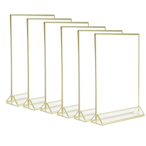 6Pack 8.5x11 Acrylic Menu Holders,Super Star Quality Clear Acrylic Double Sided Frames Display Sign Holder with Vertical Stand and 3mm Gold Border by Cq acrylic