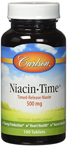 Carlson Labs Niacin-Time Time Release, 500mg, 100 Tablets