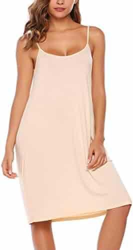 316eba4911 BEAUTYTALK Women's Casual Sleeveless Sleepwear Adjustable Spaghetti Strap Nightgown  Sleepdress Full Slip Under Dresses S-