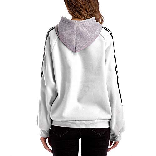 A shirt T Camicetta Donne Di Bianco Elegante Donna Larghe Camicie Casual Vendita Liquidazione Tops Lunghe Colore Maniche Camicette Righe Con Cappuccio Blocchi wq46WI