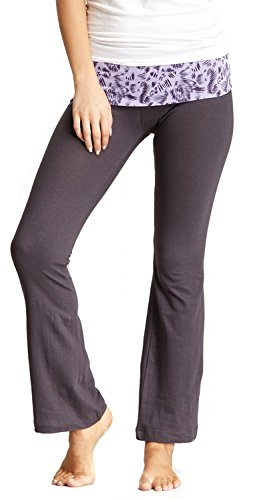 - New Balance Mum Print Athletic Fold Over Yoga Lounge Pants - Grey/Purple - Small