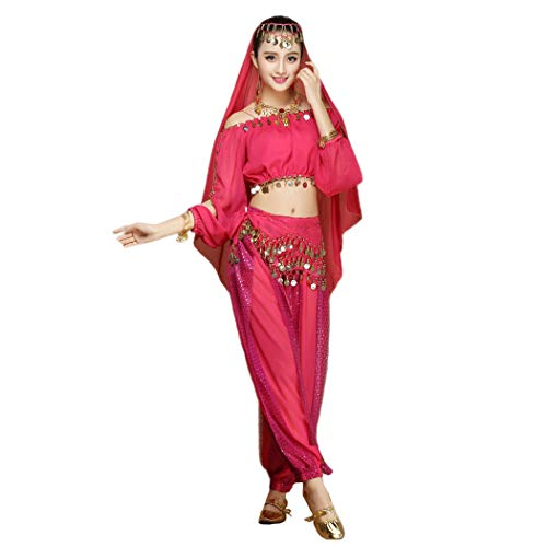 Maylong Women's Long Sleeve Belly Dancing Outfit Halloween Costume DW17 (hot Pink) ()