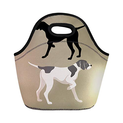 (Semtomn Neoprene Lunch Tote Bag English Pointer Dog Flat Silhouette German Hound Animal Black Reusable Cooler Bags Insulated Thermal Picnic Handbag for Travel,School,Outdoors,Work)