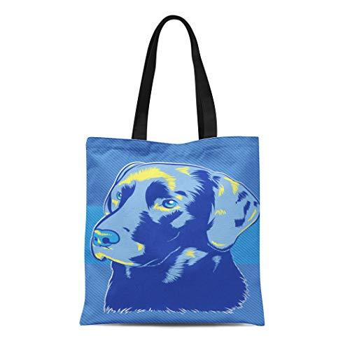 Semtomn Canvas Tote Bag Blue Lab Labrador Dog Pop Yellow Golden Face Black Durable Reusable Shopping Shoulder Grocery Bag