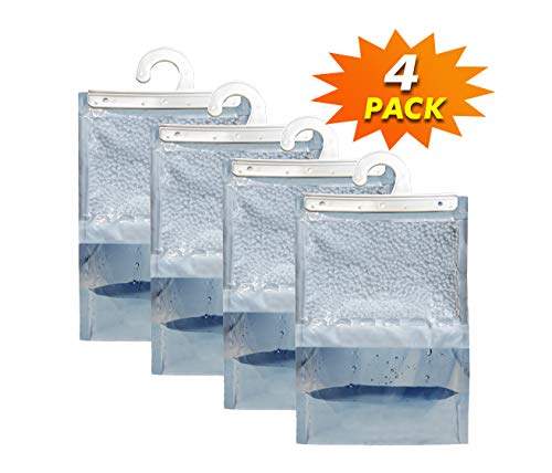 Excess Moisture - Dry & Dry [4 Packs] [Net 14 Oz/Pack] Premium Hanging Moisture Absorber to Control Excess Moisture, Mold, and Mildew for Basements, Closets, Bathrooms, Laundry Rooms.