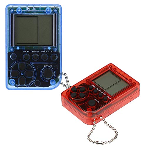 Cywulin Retro Mini Keychain Pendant Game Tetris Game Console Toy 2 PC Packaging Toys Built-in 26 Games Travel Portable Gaming System Electronics Machines Gaming Gift Present for Boy Kids (B)