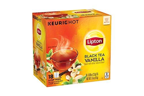 Lipton Black Tea Vanilla K-Cup Pack, 0.08 oz, 18 K-Cup Pods