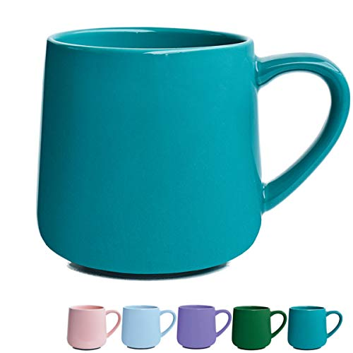 Glossy Ceramic Coffee Mug, Tea Cup for Office and Home, 18 oz, Dishwasher and Microwave Safe, 1 Pack (Aquamarine) (18 Microwave)