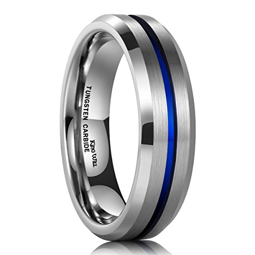 King Will DUO 6mm Blue Tungsten Carbide Ring Wedding Band High Polished Comfort Fit