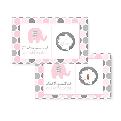 Pink & Grey Elephant Scratch Off Cards for Baby Shower (28 pc.) Mod (Baby Shower Scratch Off Games)