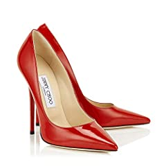 These bright pillar box red, patent leather Anouk 120 pumps from Jimmy Choo with their towering, shiny super high 120mm stiletto heel are a feet in stiletto design. Featuring a sharp and sophisticated pointed toe, a signature luxe leather bra...