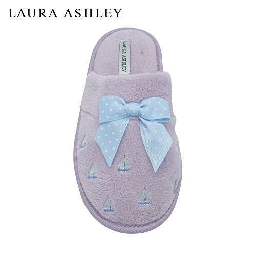 Laura Ashley Ladies Sail Boat Embroidered Soft Terry Scuff Slipper Pale Lilac Size - Lilac Pale