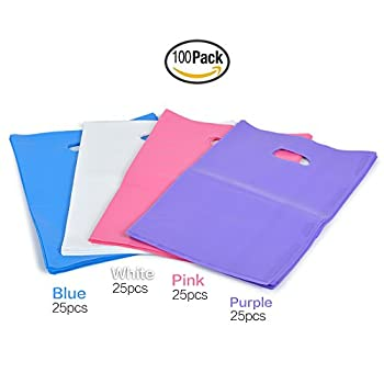 """YookeeHome 9"""" × 12"""" Glossy Plastic Merchandise Bags w/Handles, 100Pcs Retail Clothing Grocery Supermarket Boutique Shopping Bags, Pink, Purple, White, Blue"""