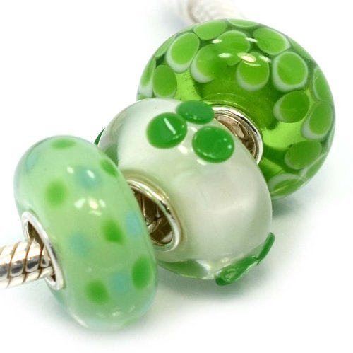Pro Jewelry (Set of 3) .925 Sterling Silver / Glass (Green) Charm Beads for Snake Chain Charm Bracelets (Pugster Beads Murano Green)