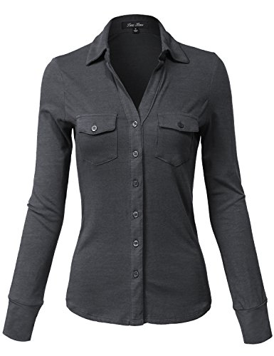 Side Rib Panel Slim Fit Cotton Plain Button Down Shirts,140-charcoal Grey,Large