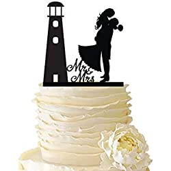 KISKISTONITE Lighthouse with Groom Lifting Bride - Forever Love - Wedding Cake Topper Anniversary Engagement Favors Party Supplies Decoration