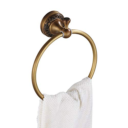 Rozin Antique Brass Bath Towel Ring Rack Wall Mounted