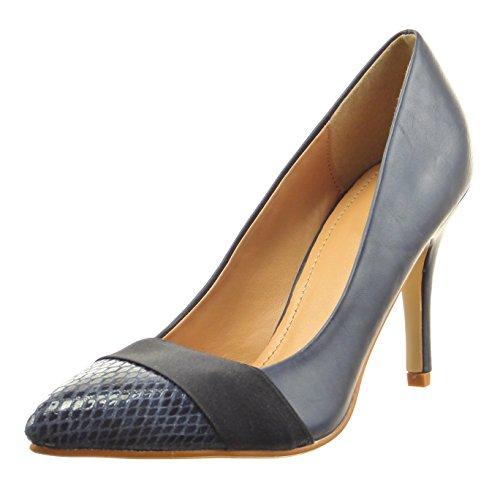 Sopily - damen Mode Schuhe Pumpe Dekollete Stiletto glänzende Schlangenhaut - Blau