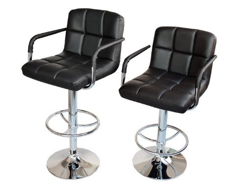 TMS 2 Black Synthetic Leather Modern Design Adjustable Swivel Barstools  Hydraulic Bar Stool