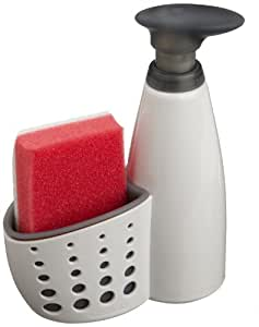 Eddingtons Casabella - Dispensador de jabón y recipiente para el estropajo, color beige y gris