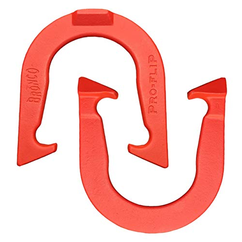 Bronco Pro-Flip Professional Pitching Horseshoes- Made in USA! (Red- Single Pair (2 Shoes))