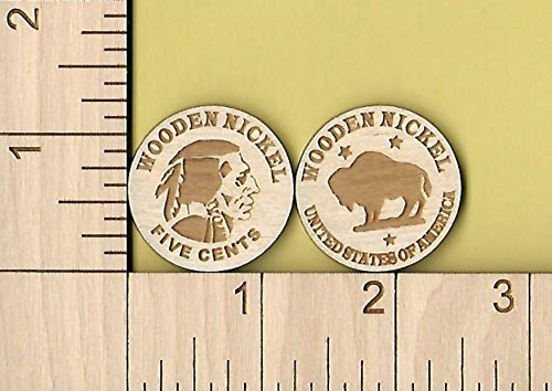 Wooden Nickel Qty (12) Laser Cut Wood Token Coin Don't Take Any Wooden -