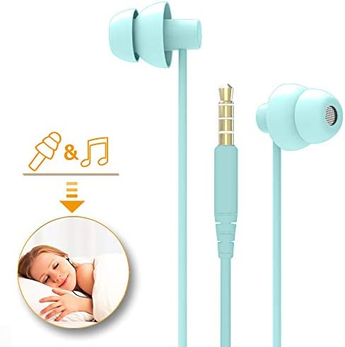 MAXROCK TM Total Soft Silicon Headphones with Mic Sleep Travel Choice for Cellphones Tablets and 3.5mm Jack Light Green