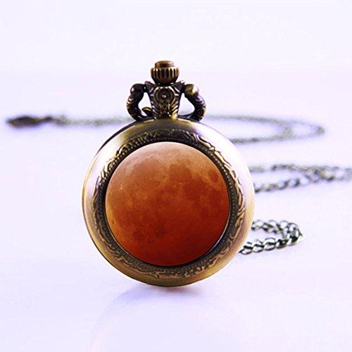 RED Moom Necklace Pocket Watch , Universe Pocket Watch Necklace, Galaxy Necklace, Antique Brass Pendant, Glass Necklace, Glass Dome Necklace Pocket Watch Necklace, Antique Bronze Long Watch Necklace